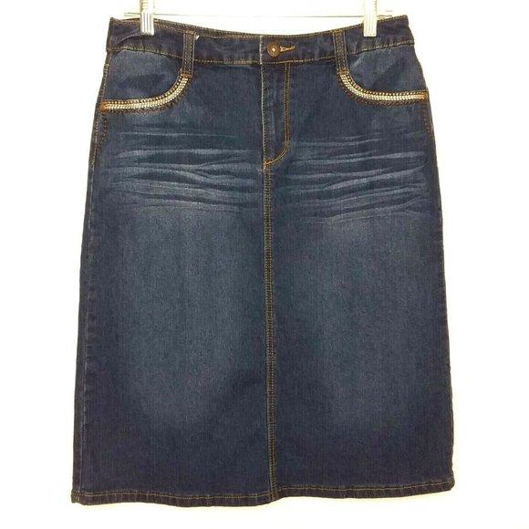 Christopher & Banks Dresses & Skirts - Christopher & Banks Embroidered Denim Pencil Skirt